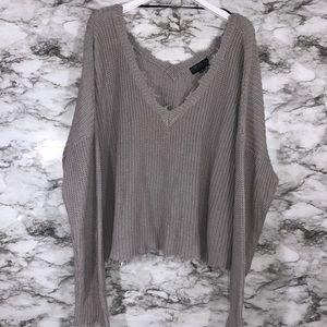 Forever 21 Grey Crop Crochet Sweater